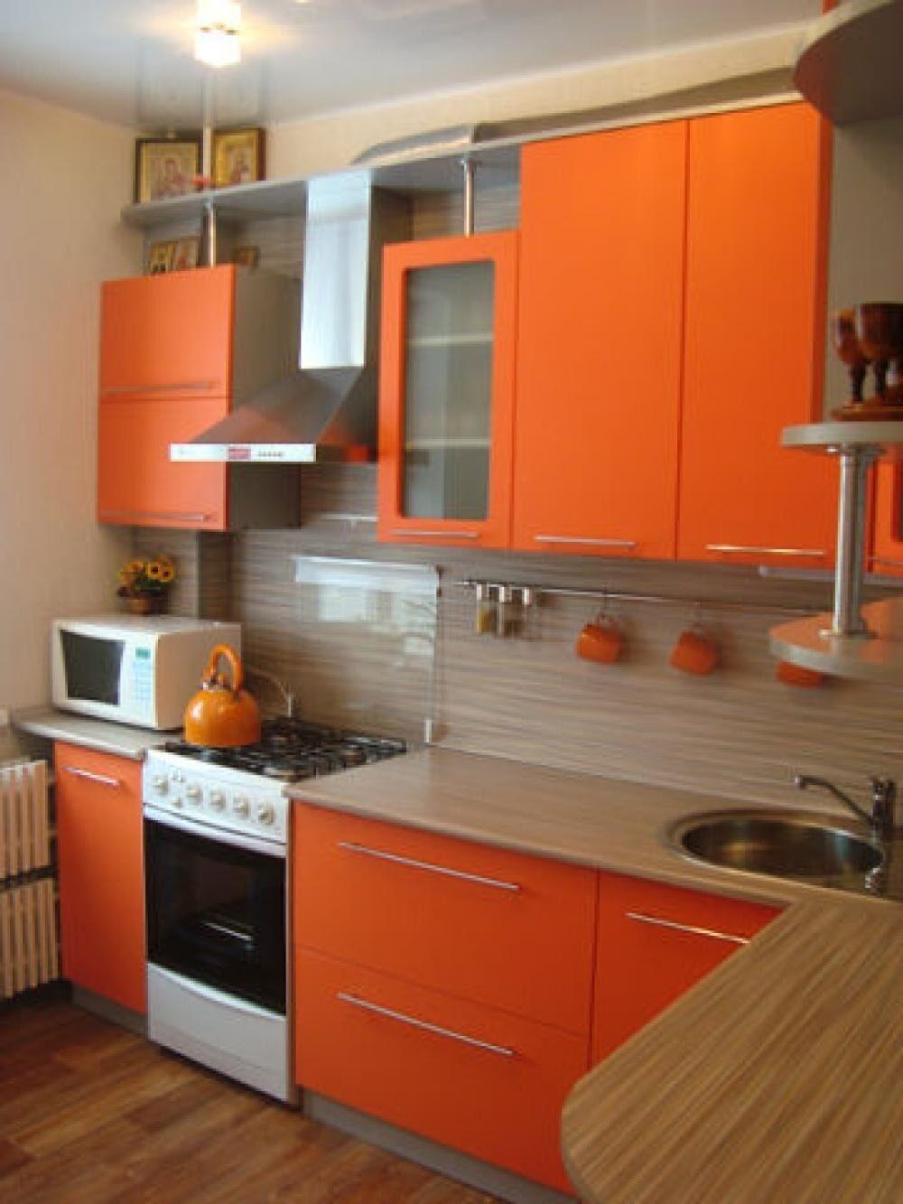 Кухня в оранжевых тонах дизайн фото