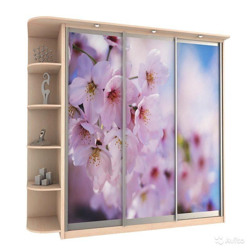 Шкаф купе с рисунком цветов