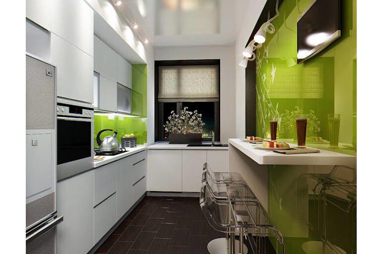 Дизайн кухни по прямой стене