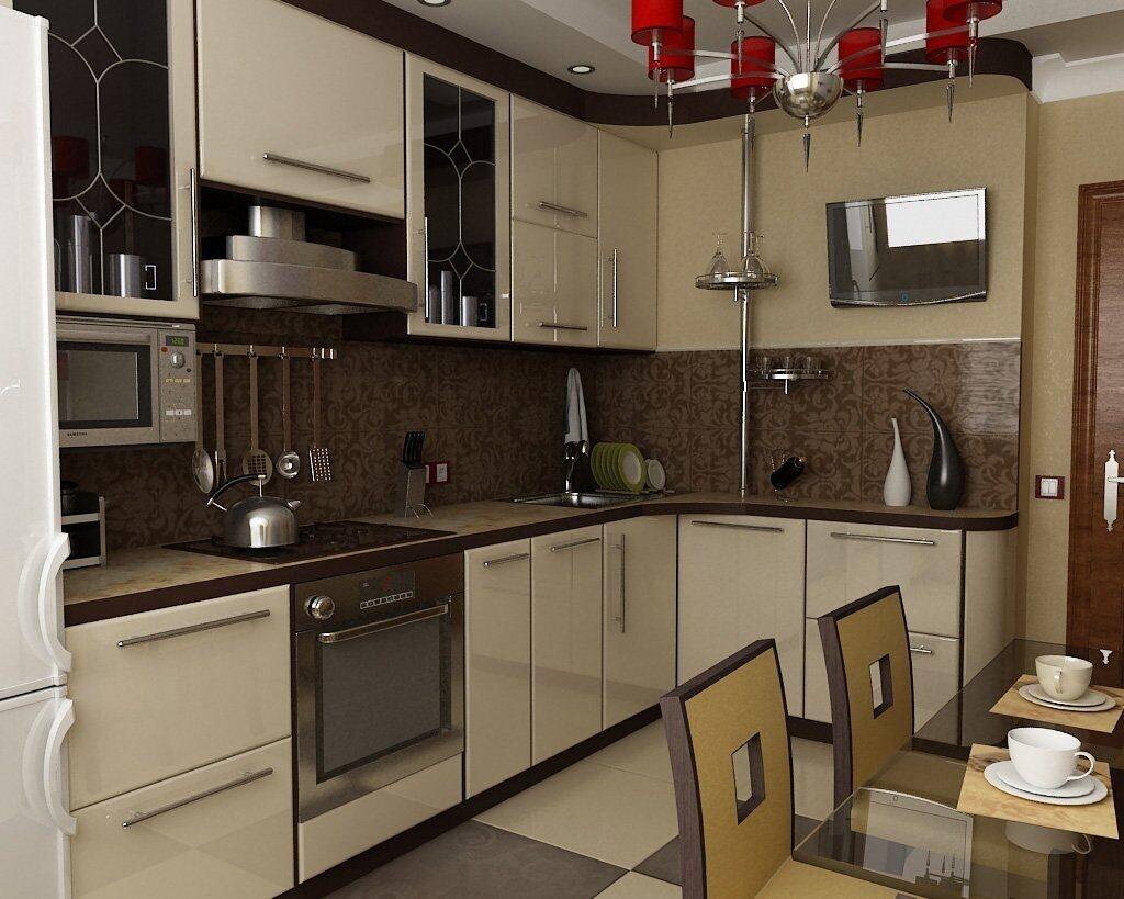 Дизайн интерьера угловой кухни 9 кв м фото