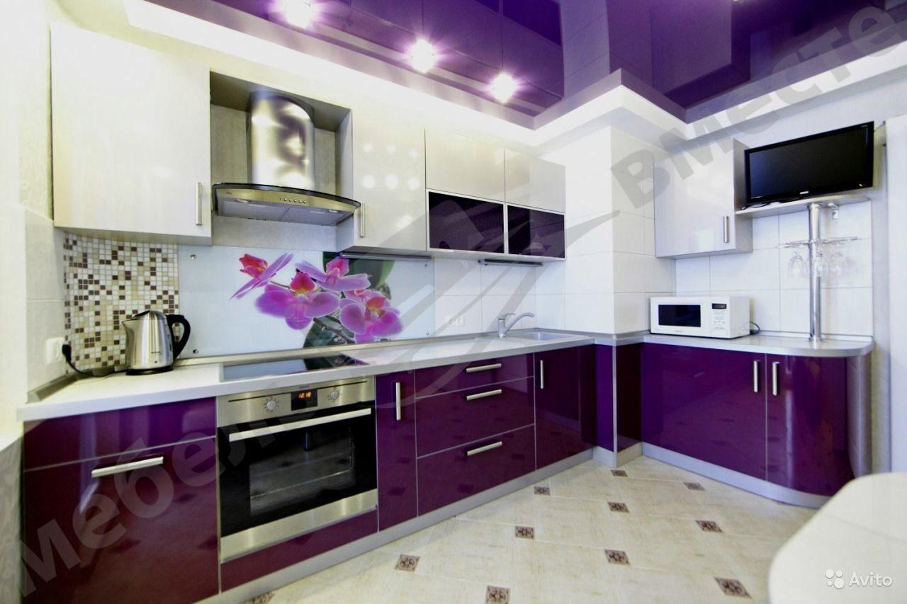 Кухня фиолетовая белая  № 1839230 загрузить