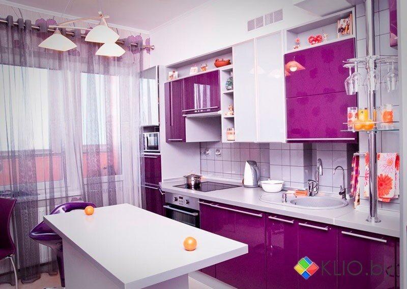 Фиолетовый интерьер кухни фото 86
