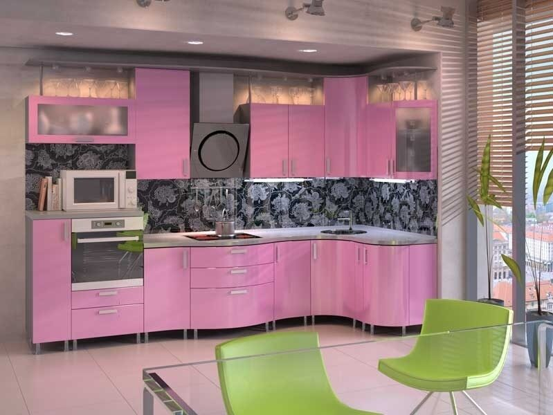 Дизайн кухни фото розовый
