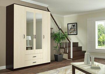 Шкаф Фиеста 4-х створчатый на 1,6 метра Венге-Лоредо