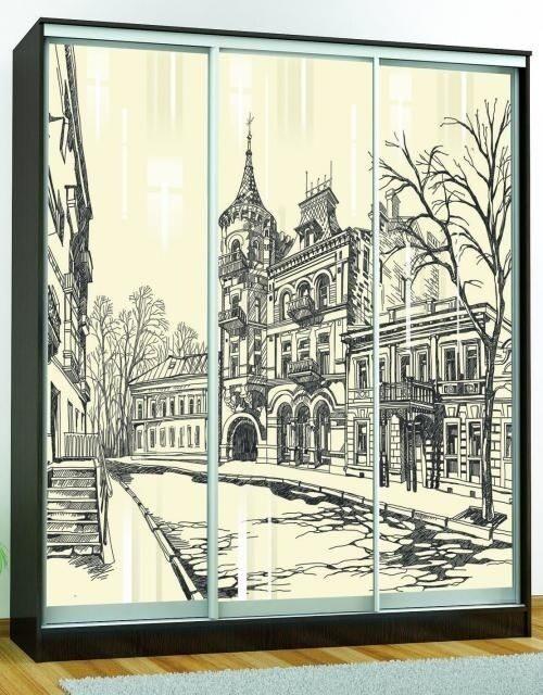 Шкаф-купе «Комфорт-3 люкс (1850 мм)» (Венге) с рисунком «Город»