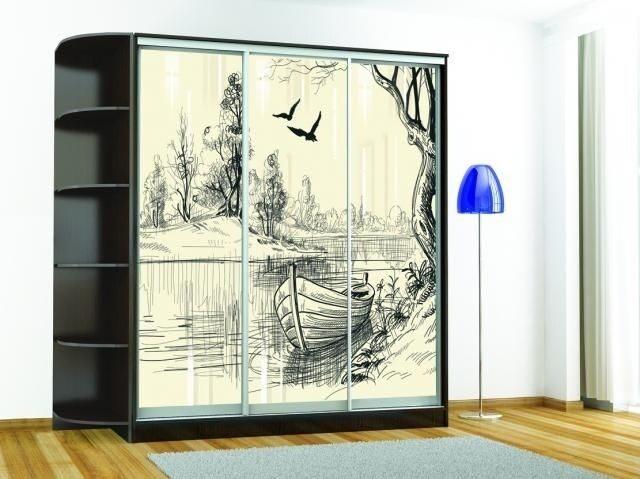 Шкаф-купе «Комфорт-3 люкс (1850 мм)» (Венге) с рисунком «Лодка»