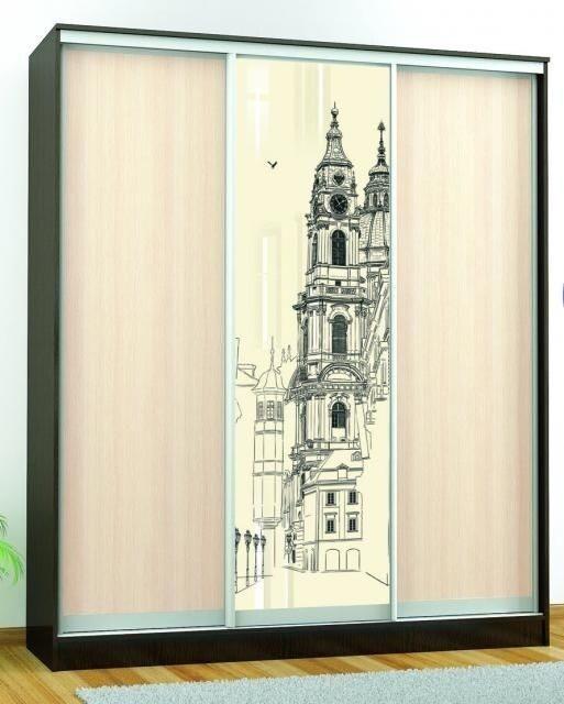 Шкаф-купе «Комфорт-3 люкс (1850 мм)» (Венге) с рисунком «Замок»