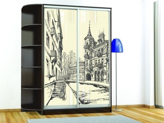 Шкаф-купе «Комфорт-2 люкс (1200 мм)» (Венге) с рисунком «Город»
