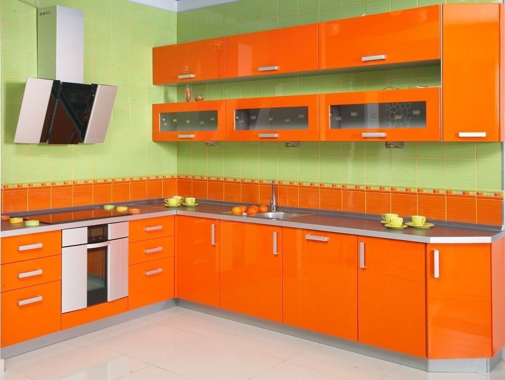Отделка оранжевой кухни