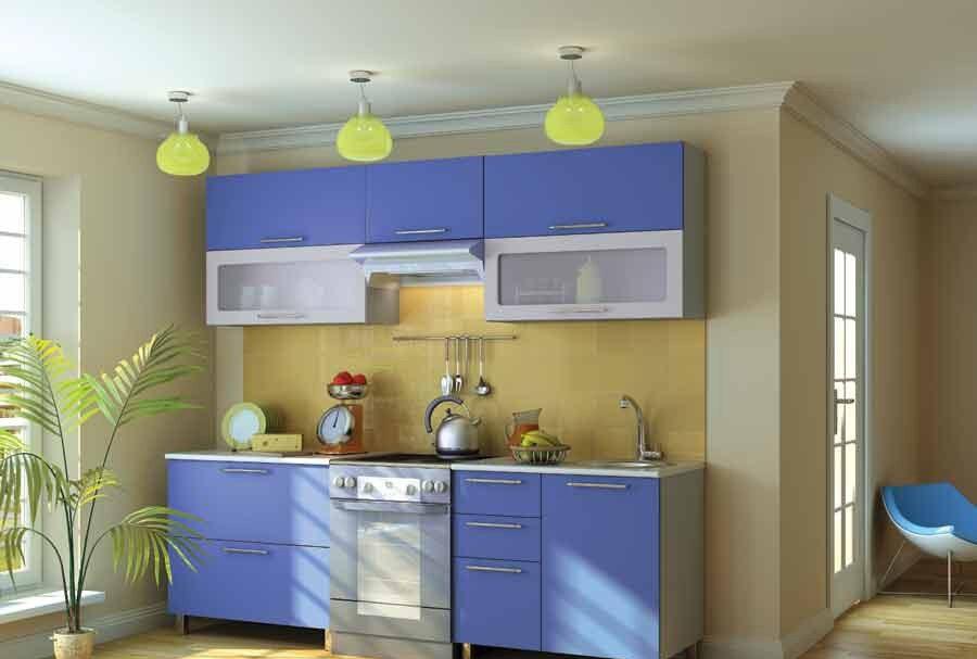 Кухня в желто голубом цвете