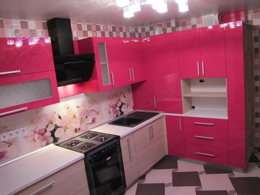 Кухня розовый пластик
